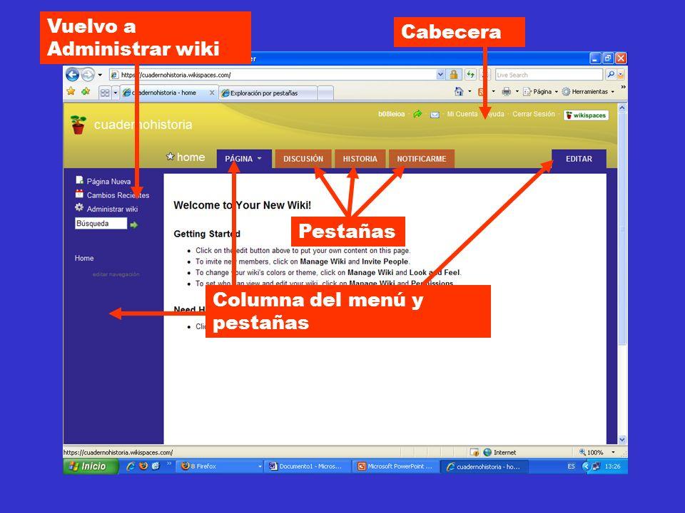 Cabecera Pestañas Columna del menú y pestañas Vuelvo a Administrar wiki