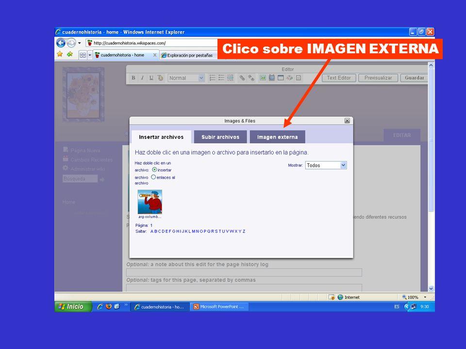 Clico sobre IMAGEN EXTERNA