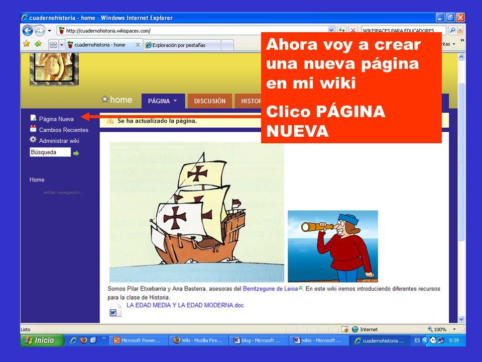 Ahora voy a crear una nueva página en mi wiki Clico PÁGINA NUEVA