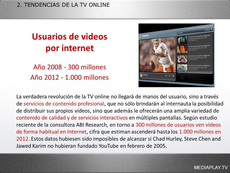 MEDIAPLAY.TV 2. TENDENCIAS DE LA TV ONLINE La verdadera revolución de la TV online no llegará de manos del usuario, sino a través de servicios de cont
