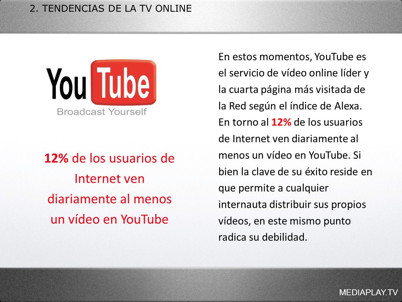 MEDIAPLAY.TV 2. TENDENCIAS DE LA TV ONLINE En estos momentos, YouTube es el servicio de vídeo online líder y la cuarta página más visitada de la Red s