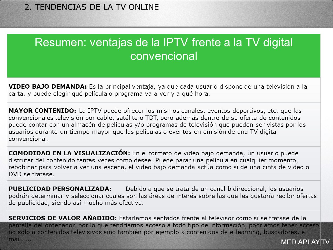 MEDIAPLAY.TV 2. TENDENCIAS DE LA TV ONLINE Resumen: ventajas de la IPTV frente a la TV digital convencional VIDEO BAJO DEMANDA: Es la principal ventaj
