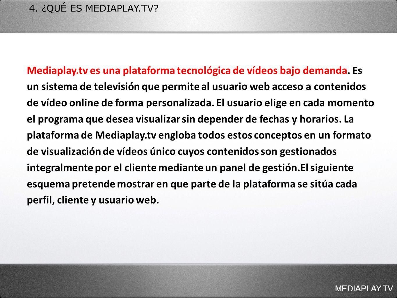 4. ¿QUÉ ES MEDIAPLAY.TV? Mediaplay.tv es una plataforma tecnológica de vídeos bajo demanda. Es un sistema de televisión que permite al usuario web acc