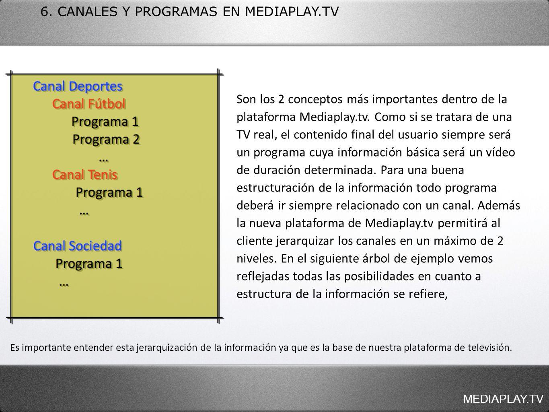 6. CANALES Y PROGRAMAS EN MEDIAPLAY.TV Es importante entender esta jerarquización de la información ya que es la base de nuestra plataforma de televis