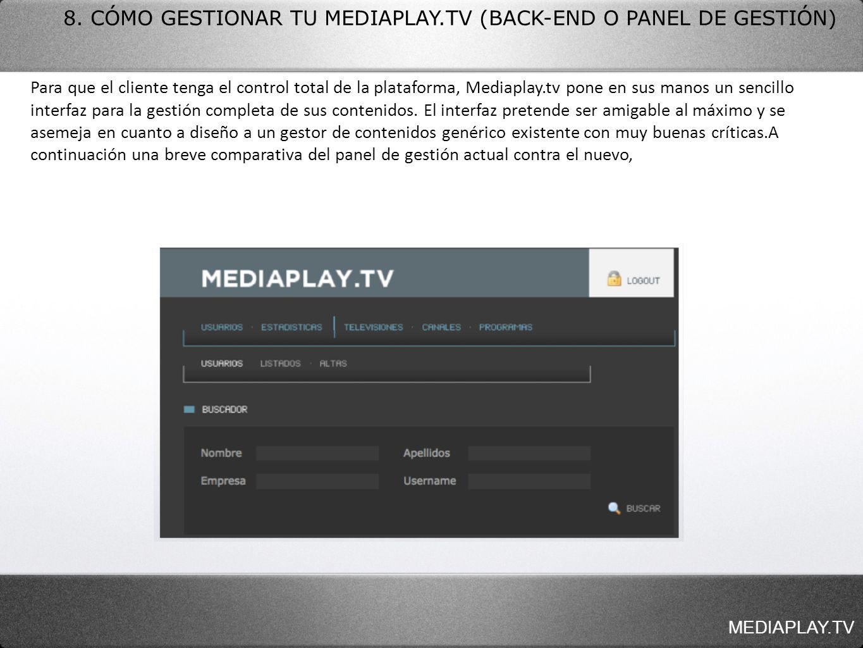 8. CÓMO GESTIONAR TU MEDIAPLAY.TV (BACK-END O PANEL DE GESTIÓN) Para que el cliente tenga el control total de la plataforma, Mediaplay.tv pone en sus