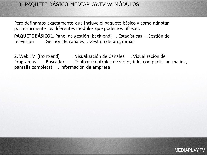 MEDIAPLAY.TV 10. PAQUETE BÁSICO MEDIAPLAY.TV vs MÓDULOS Pero definamos exactamente que incluye el paquete básico y como adaptar posteriormente los dif