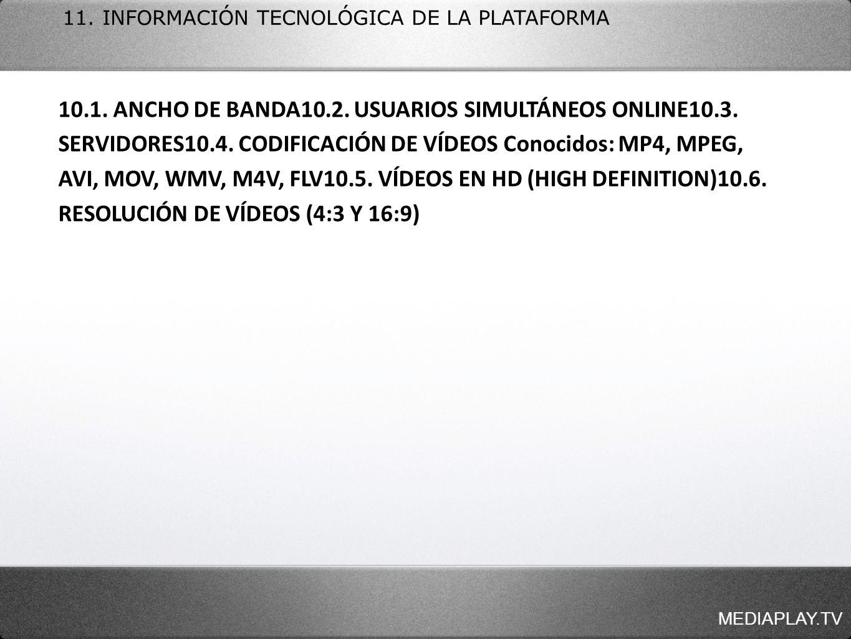 MEDIAPLAY.TV 11. INFORMACIÓN TECNOLÓGICA DE LA PLATAFORMA 10.1. ANCHO DE BANDA10.2. USUARIOS SIMULTÁNEOS ONLINE10.3. SERVIDORES10.4. CODIFICACIÓN DE V