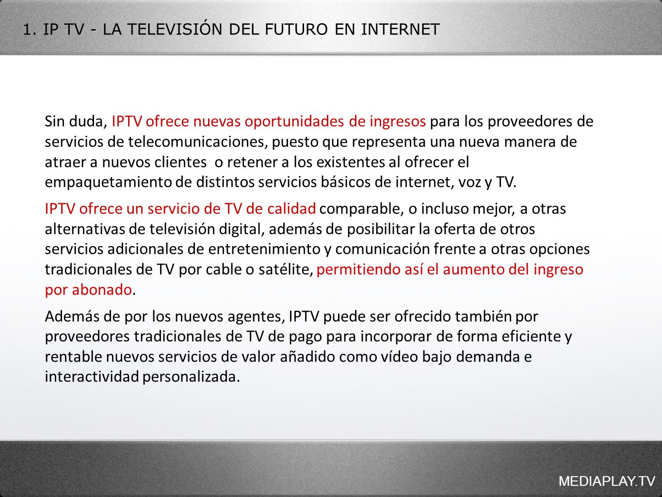 - TIEMPO REAL - VIDEO BAJO DEMANDA - PARRILLA DE PROGRAMACIÓN MEDIAPLAY.TV 3