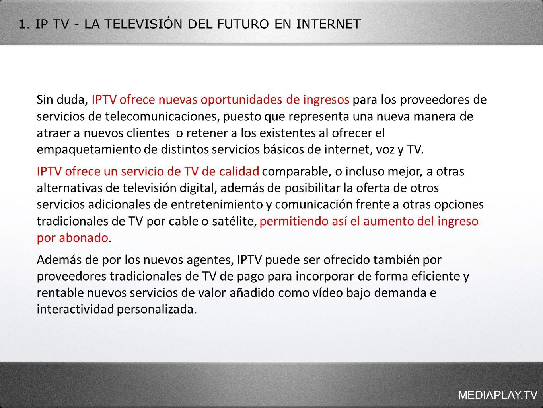 MEDIAPLAY.TV Sin duda, IPTV ofrece nuevas oportunidades de ingresos para los proveedores de servicios de telecomunicaciones, puesto que representa una