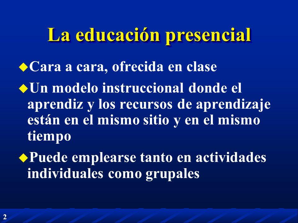 2 La educación presencial Cara a cara, ofrecida en clase Un modelo instruccional donde el aprendiz y los recursos de aprendizaje están en el mismo sit