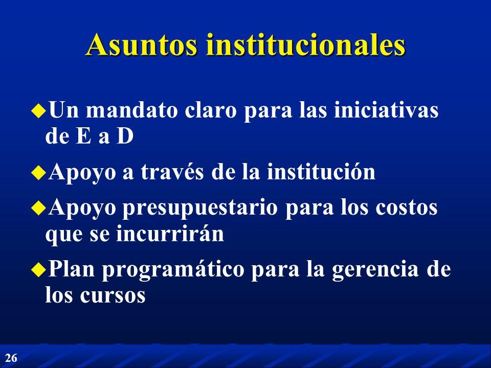 26 Asuntos institucionales Un mandato claro para las iniciativas de E a D Apoyo a través de la institución Apoyo presupuestario para los costos que se