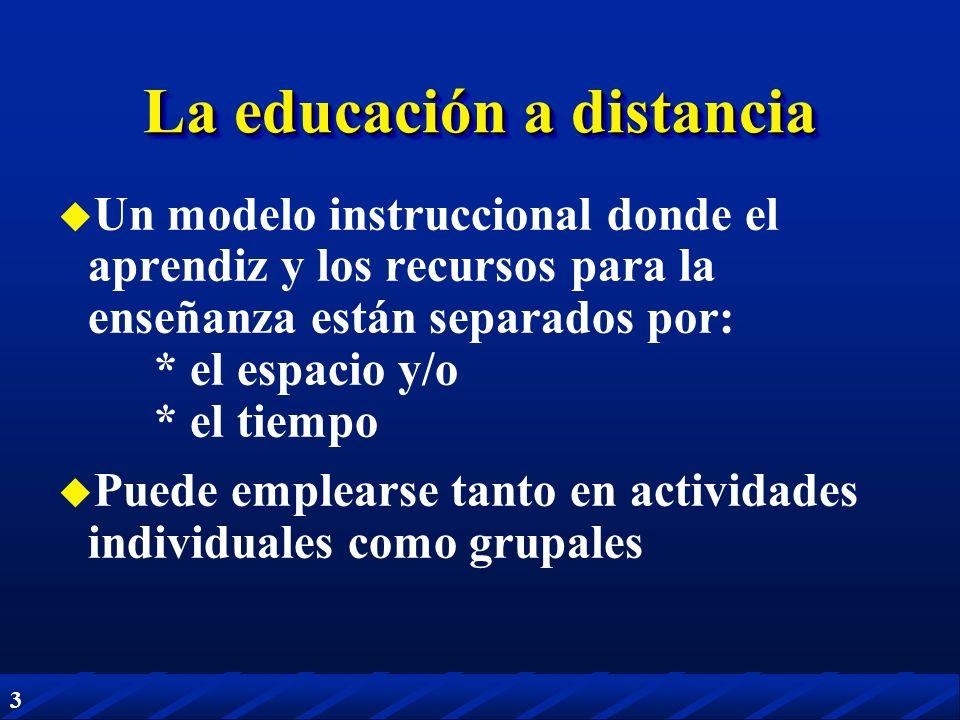 3 La educación a distancia Un modelo instruccional donde el aprendiz y los recursos para la enseñanza están separados por: * el espacio y/o * el tiemp
