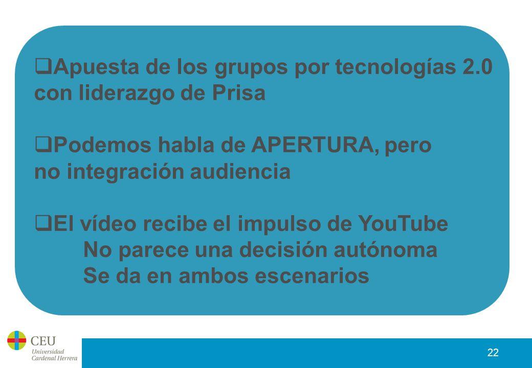 22 Apuesta de los grupos por tecnologías 2.0 con liderazgo de Prisa Podemos habla de APERTURA, pero no integración audiencia El vídeo recibe el impulso de YouTube No parece una decisión autónoma Se da en ambos escenarios