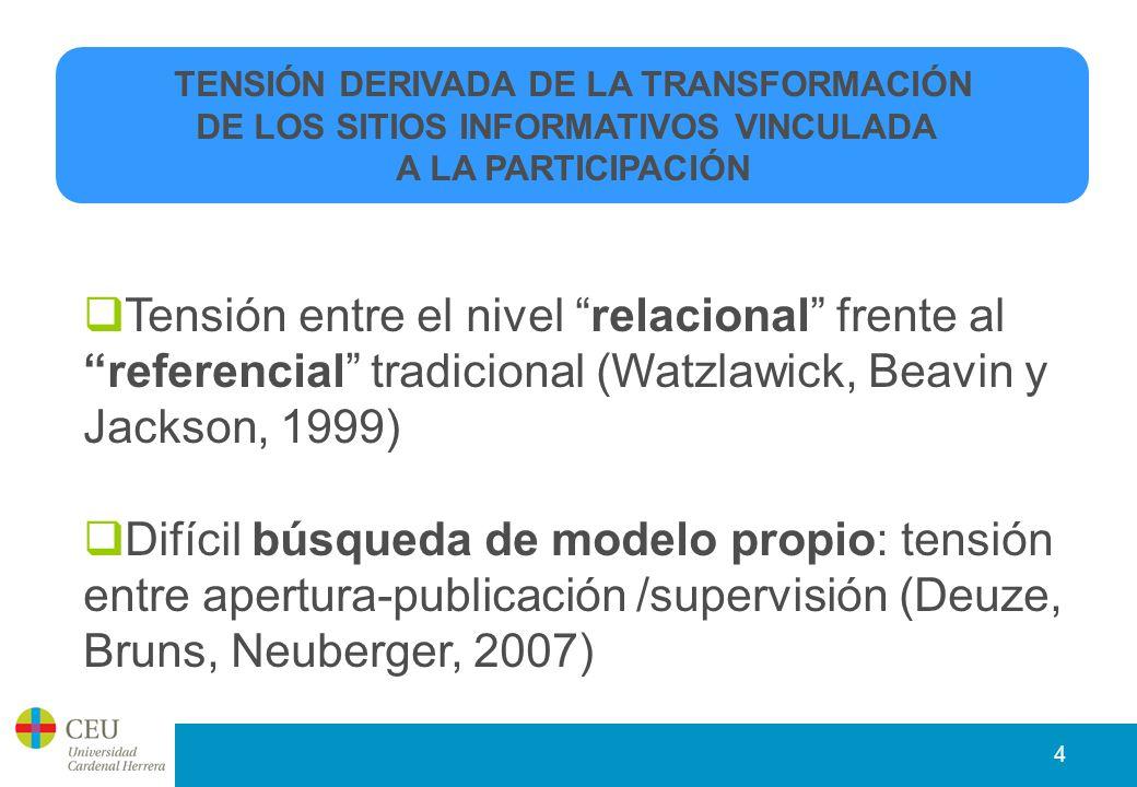 4 Tensión entre el nivel relacional frente al referencial tradicional (Watzlawick, Beavin y Jackson, 1999) Difícil búsqueda de modelo propio: tensión entre apertura-publicación /supervisión (Deuze, Bruns, Neuberger, 2007) TENSIÓN DERIVADA DE LA TRANSFORMACIÓN DE LOS SITIOS INFORMATIVOS VINCULADA A LA PARTICIPACIÓN