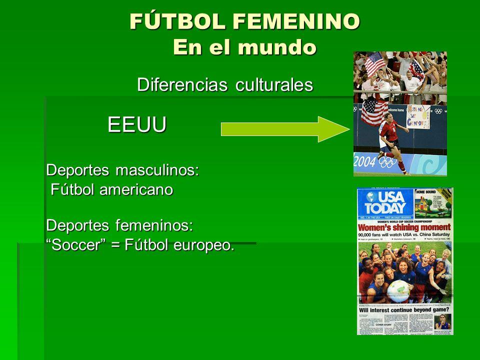 FÚTBOL FEMENINO En el mundo EEUU EEUU Deportes masculinos: Fútbol americano Fútbol americano Diferencias culturales Deportes femeninos: Soccer = Fútbol europeo.