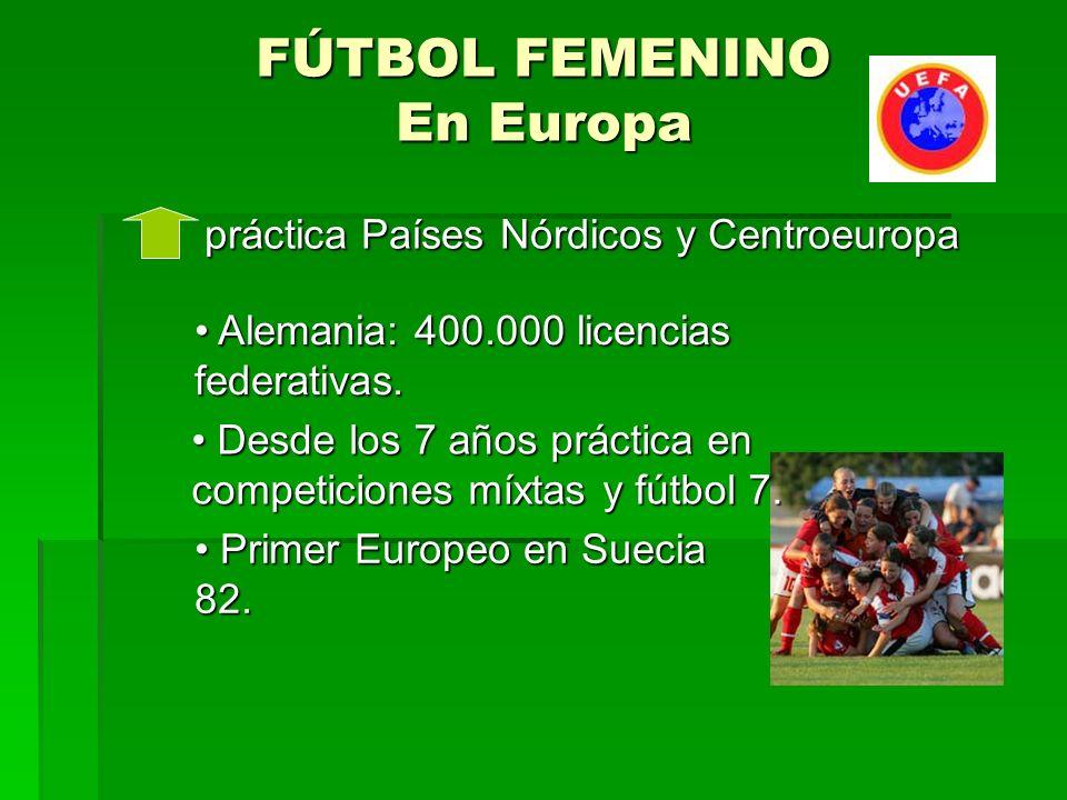 FÚTBOL FEMENINO En Europa práctica Países Nórdicos y Centroeuropa práctica Países Nórdicos y Centroeuropa Alemania: 400.000 licencias federativas.