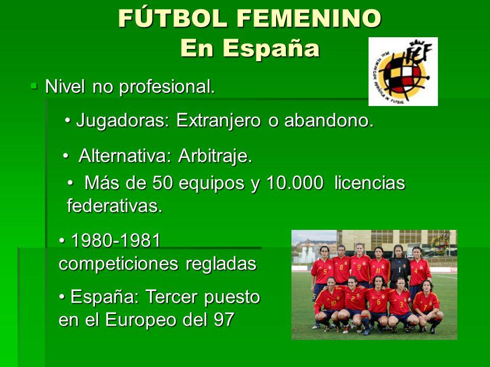 FÚTBOL FEMENINO En España Nivel no profesional.Nivel no profesional.