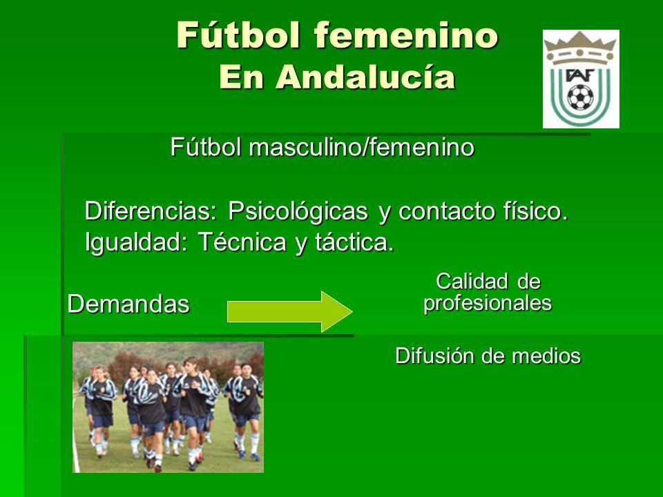 Fútbol femenino En Andalucía Fútbol masculino/femenino Demandas Diferencias: Psicológicas y contacto físico.