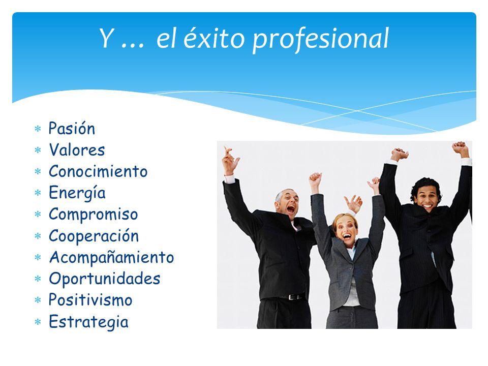 Pasión Valores Conocimiento Energía Compromiso Cooperación Acompañamiento Oportunidades Positivismo Estrategia Y … el éxito profesional