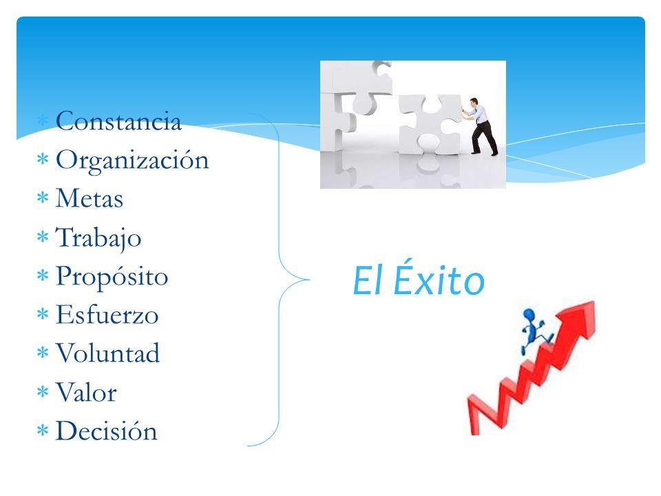 Constancia Organización Metas Trabajo Propósito Esfuerzo Voluntad Valor Decisión El Éxito
