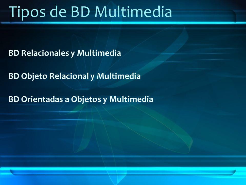 Tipos de BD Multimedia BD Relacionales y Multimedia BD Objeto Relacional y Multimedia BD Orientadas a Objetos y Multimedia