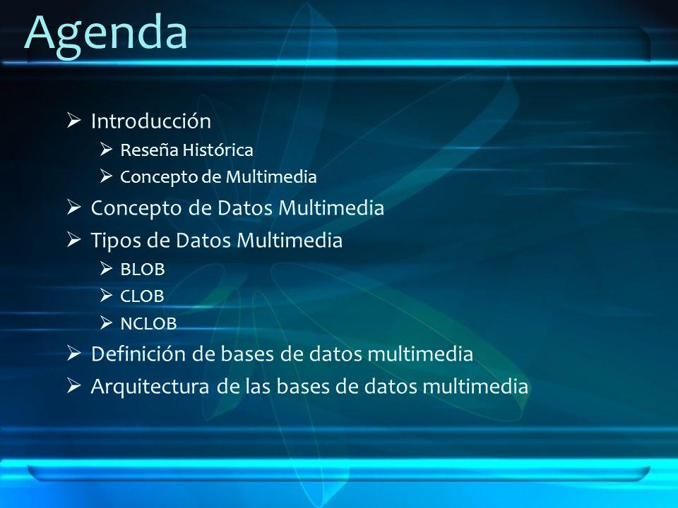Agenda Introducción Reseña Histórica Concepto de Multimedia Concepto de Datos Multimedia Tipos de Datos Multimedia BLOB CLOB NCLOB Definición de bases