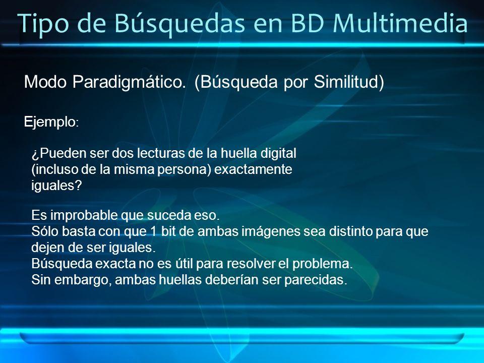 Tipo de Búsquedas en BD Multimedia Modo Paradigmático. (Búsqueda por Similitud) Ejemplo : ¿Pueden ser dos lecturas de la huella digital (incluso de la