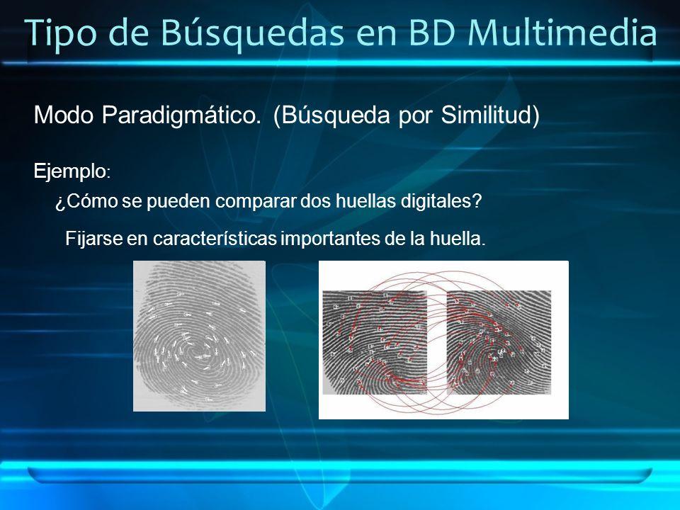 Tipo de Búsquedas en BD Multimedia Modo Paradigmático. (Búsqueda por Similitud) Ejemplo : ¿Cómo se pueden comparar dos huellas digitales? Fijarse en c