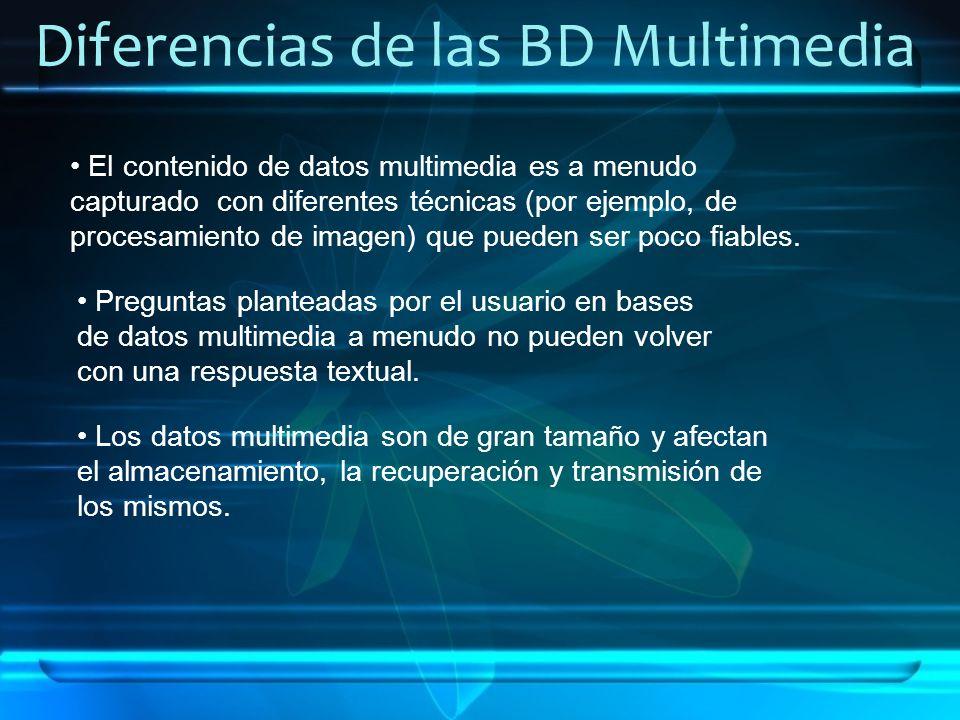 Diferencias de las BD Multimedia El contenido de datos multimedia es a menudo capturado con diferentes técnicas (por ejemplo, de procesamiento de imag