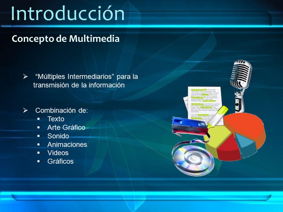 Introducción Concepto de Multimedia Múltiples Intermediarios para la transmisión de la información Combinación de: Texto Arte Gráfico Sonido Animacion