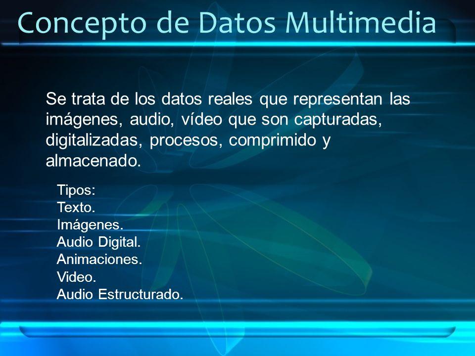Concepto de Datos Multimedia Se trata de los datos reales que representan las imágenes, audio, vídeo que son capturadas, digitalizadas, procesos, comp