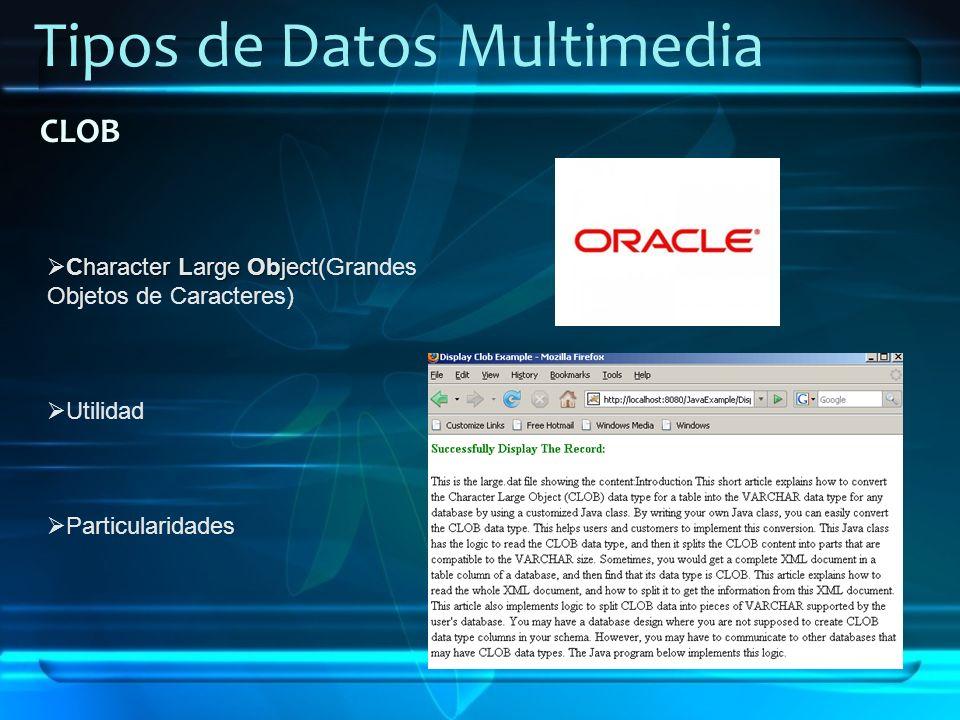 Tipos de Datos Multimedia CLOB Character Large Object Character Large Object(Grandes Objetos de Caracteres) Utilidad Particularidades