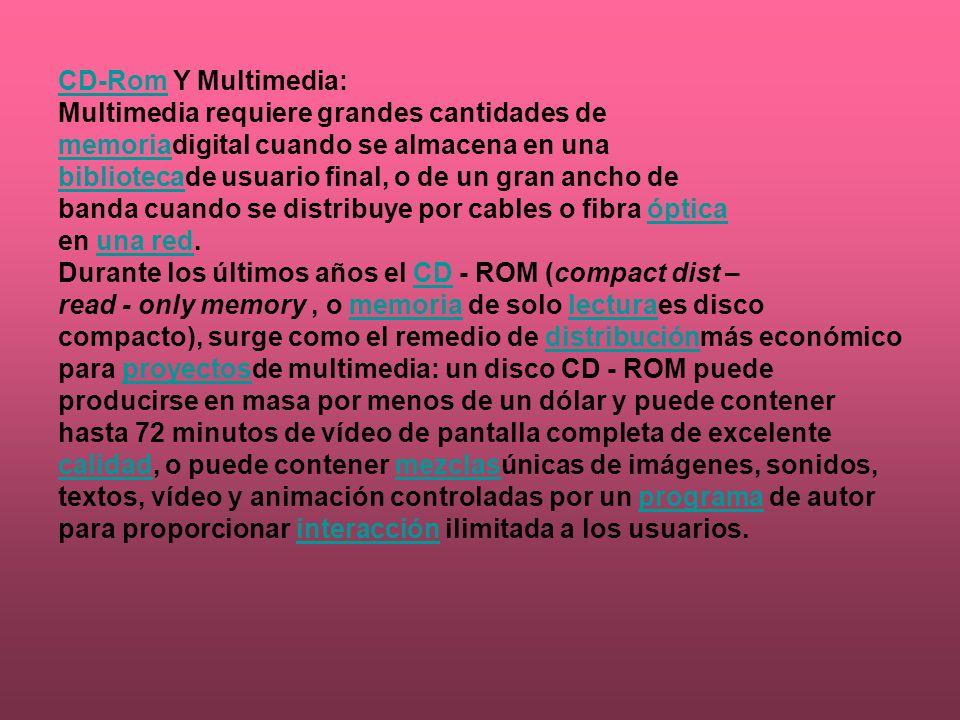 CD-RomCD-Rom Y Multimedia: Multimedia requiere grandes cantidades de memoriamemoriadigital cuando se almacena en una bibliotecabibliotecade usuario fi