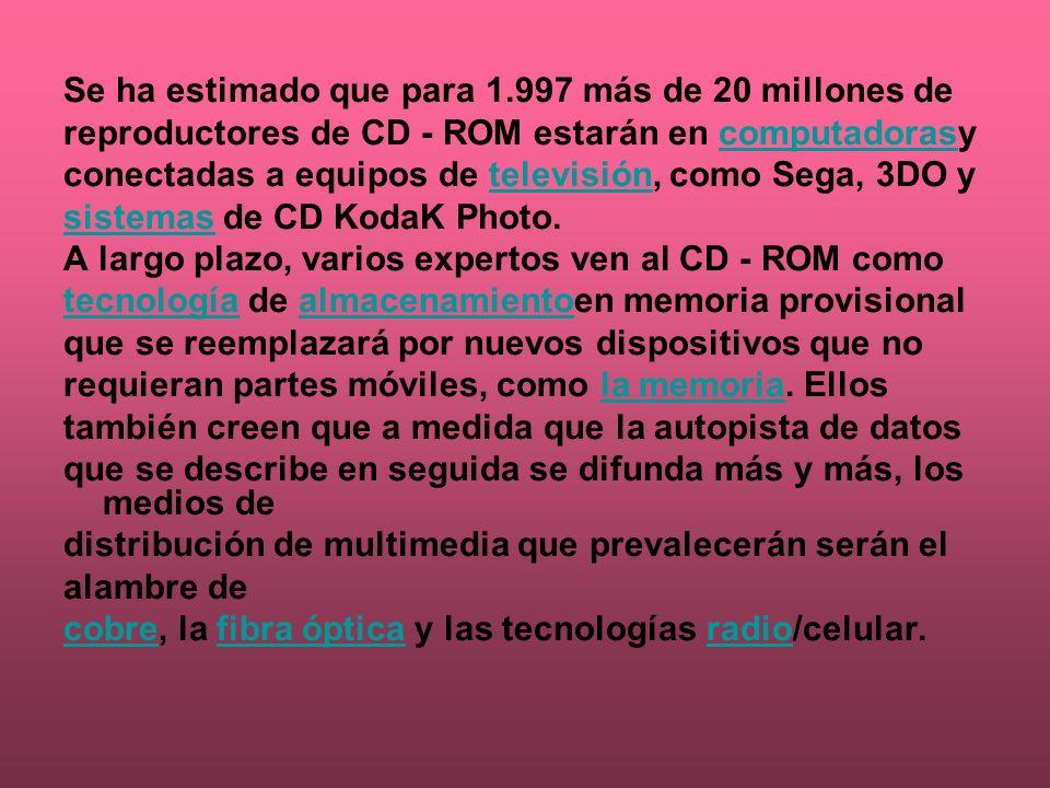 Se ha estimado que para 1.997 más de 20 millones de reproductores de CD - ROM estarán en computadorasycomputadoras conectadas a equipos de televisión,