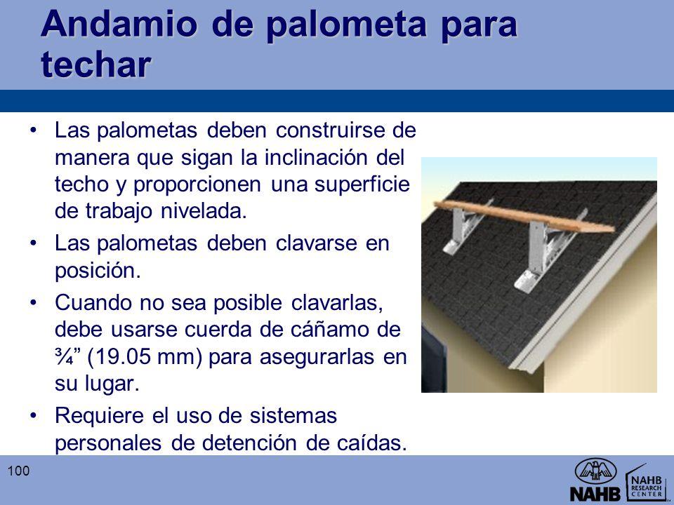 Andamio de palometa para techar Las palometas deben construirse de manera que sigan la inclinación del techo y proporcionen una superficie de trabajo