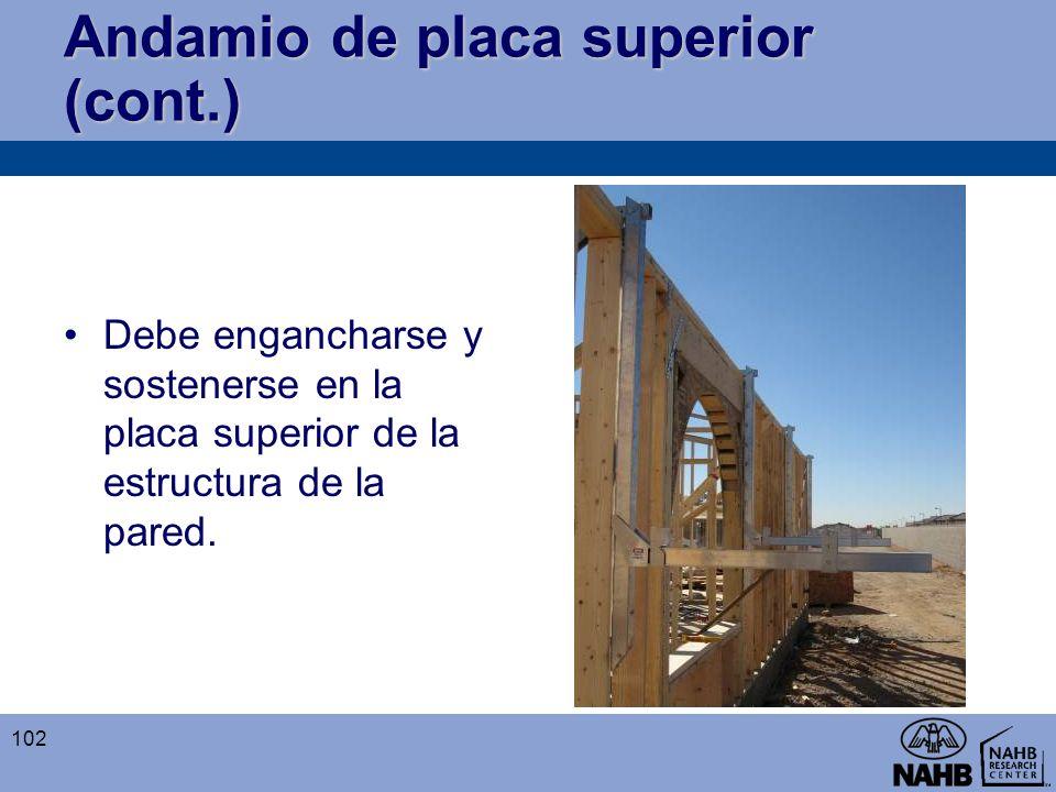 Andamio de placa superior (cont.) Debe engancharse y sostenerse en la placa superior de la estructura de la pared. 102