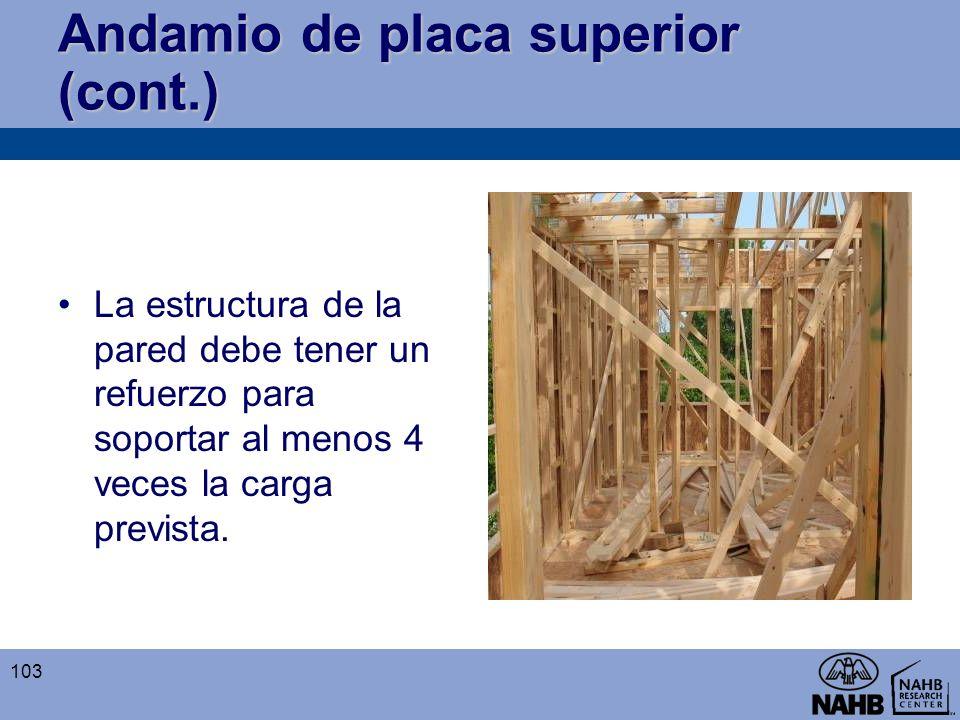Andamio de placa superior (cont.) La estructura de la pared debe tener un refuerzo para soportar al menos 4 veces la carga prevista. 103