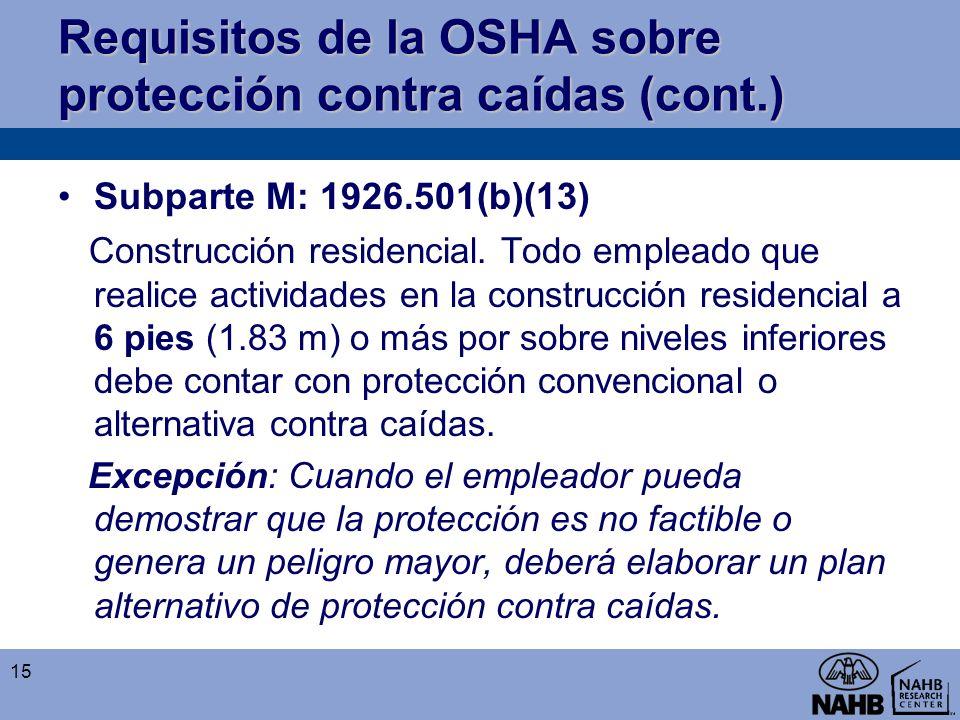 Requisitos de la OSHA sobre protección contra caídas (cont.) Subparte M: 1926.501(b)(13) Construcción residencial. Todo empleado que realice actividad