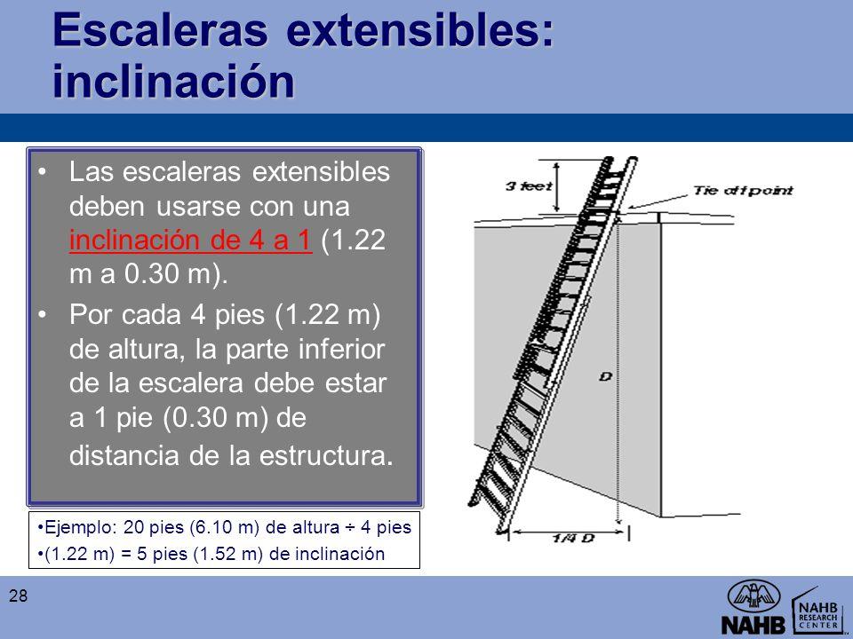 Escaleras extensibles: inclinación Las escaleras extensibles deben usarse con una inclinación de 4 a 1 (1.22 m a 0.30 m). Por cada 4 pies (1.22 m) de