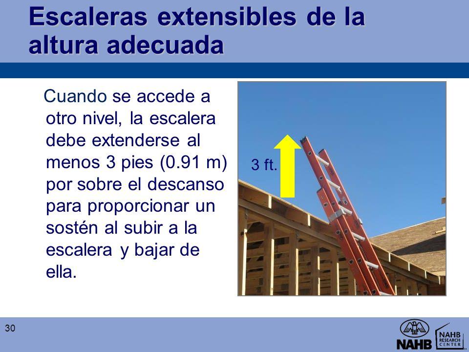 Escaleras extensibles de la altura adecuada Cuando se accede a otro nivel, la escalera debe extenderse al menos 3 pies (0.91 m) por sobre el descanso
