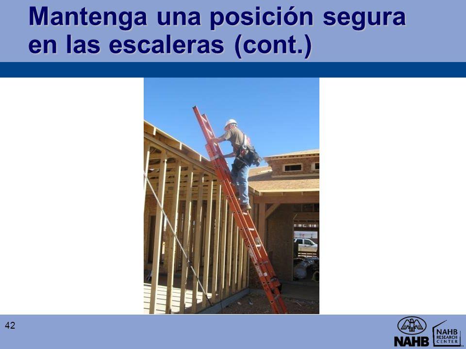 Mantenga una posición segura en las escaleras (cont.) 42