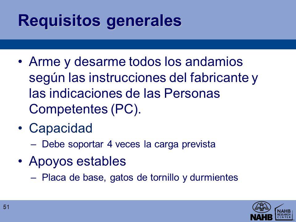 Requisitos generales Arme y desarme todos los andamios según las instrucciones del fabricante y las indicaciones de las Personas Competentes (PC). Cap