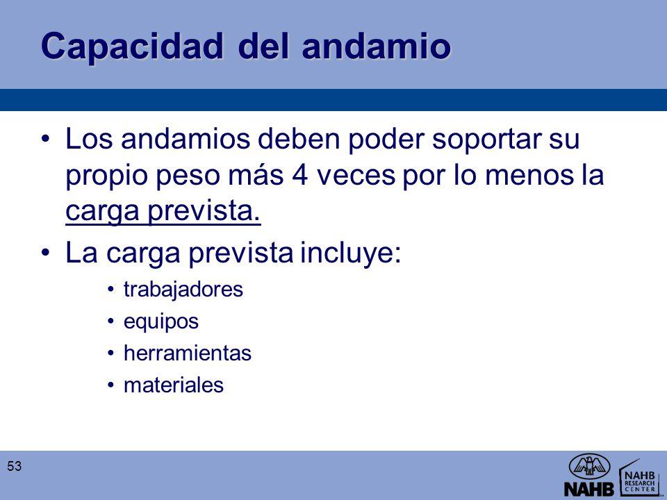 Capacidad del andamio Los andamios deben poder soportar su propio peso más 4 veces por lo menos la carga prevista. La carga prevista incluye: trabajad