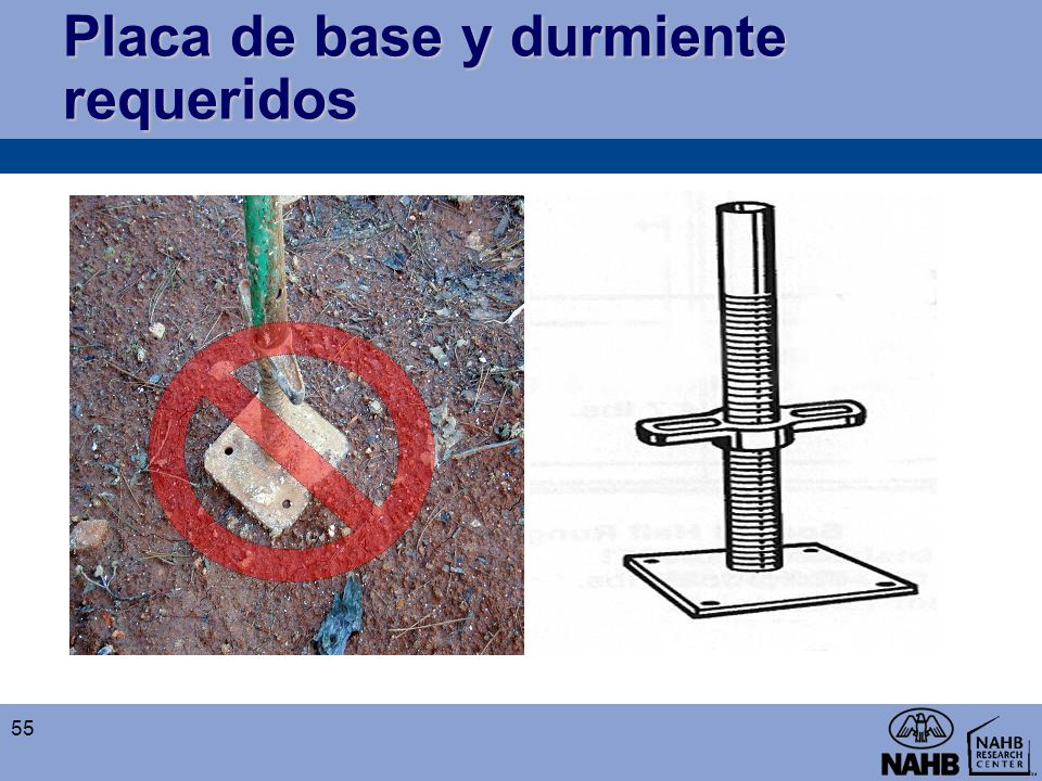 Placa de base y durmiente requeridos 55