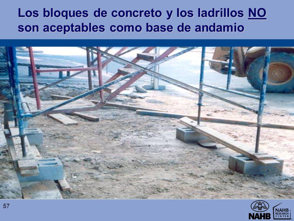 Los bloques de concreto y los ladrillos NO son aceptables como base de andamio 57