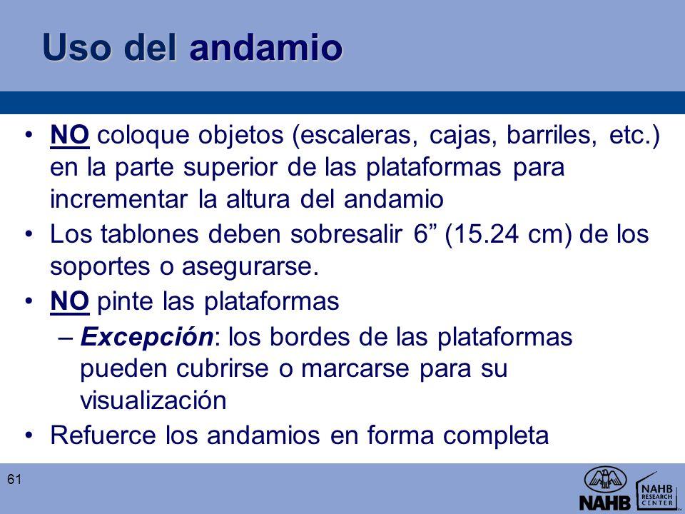 Uso del andamio NO coloque objetos (escaleras, cajas, barriles, etc.) en la parte superior de las plataformas para incrementar la altura del andamio L
