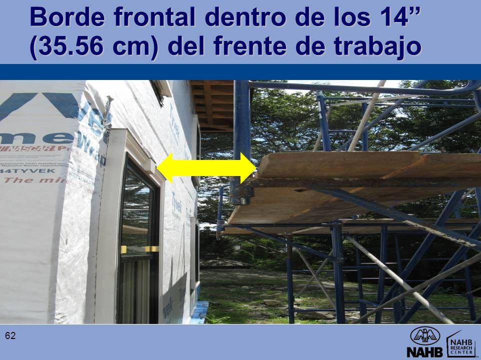 Borde frontal dentro de los 14 (35.56 cm) del frente de trabajo 62