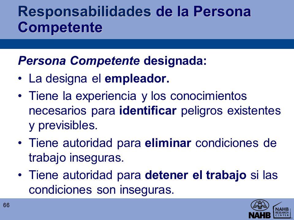 Responsabilidades de la Persona Competente Persona Competente designada: La designa el empleador. Tiene la experiencia y los conocimientos necesarios