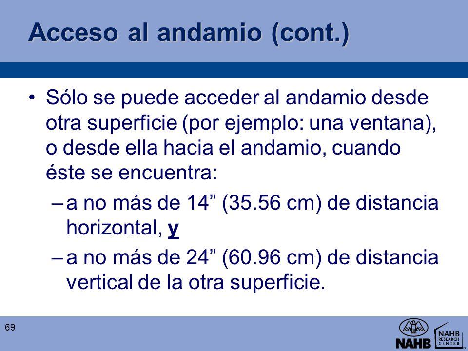 Acceso al andamio (cont.) Sólo se puede acceder al andamio desde otra superficie (por ejemplo: una ventana), o desde ella hacia el andamio, cuando ést