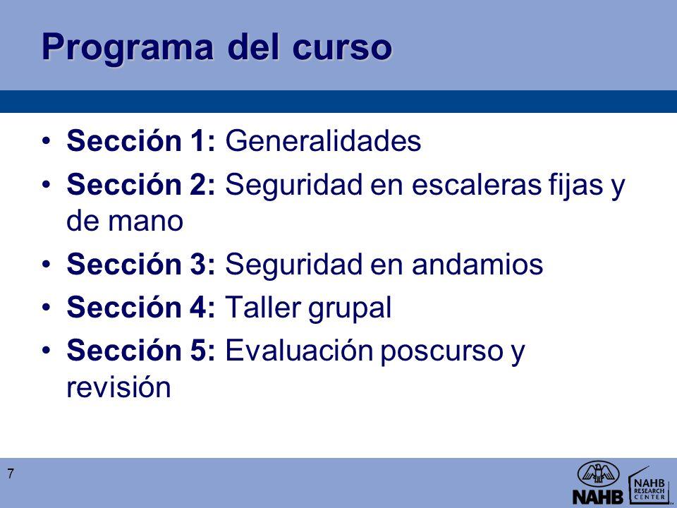 Programa del curso Sección 1: Generalidades Sección 2: Seguridad en escaleras fijas y de mano Sección 3: Seguridad en andamios Sección 4: Taller grupa